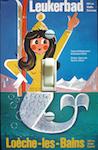 1970s Swiss Ski Mermaid Travel Poster Leukerbad