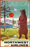 1950's Alaska Bear Vintage Travel Ad Poster