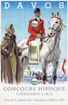 1950s Davos Horse Show Travel Poster