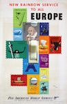 1950s McKnight Kauffer Pan Am  Europe Rainbow Poster