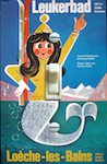 1970s Swiss Ski Mermaid Travel Poster Leukerbad