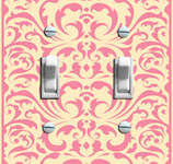 Vintage Pale Yellow and Pink Baroque Wallpaper  - Double Options