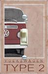 Red Volkswagen Van Type 2 Vintage Poster