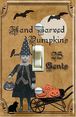 Halloween Ephemera Little Girl Pumpkins